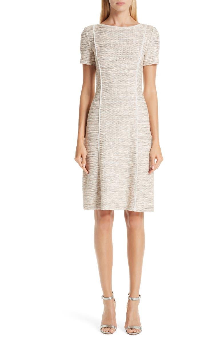 ST. JOHN COLLECTION Dune Inlay Knit Sheath Dress, Main, color, 250