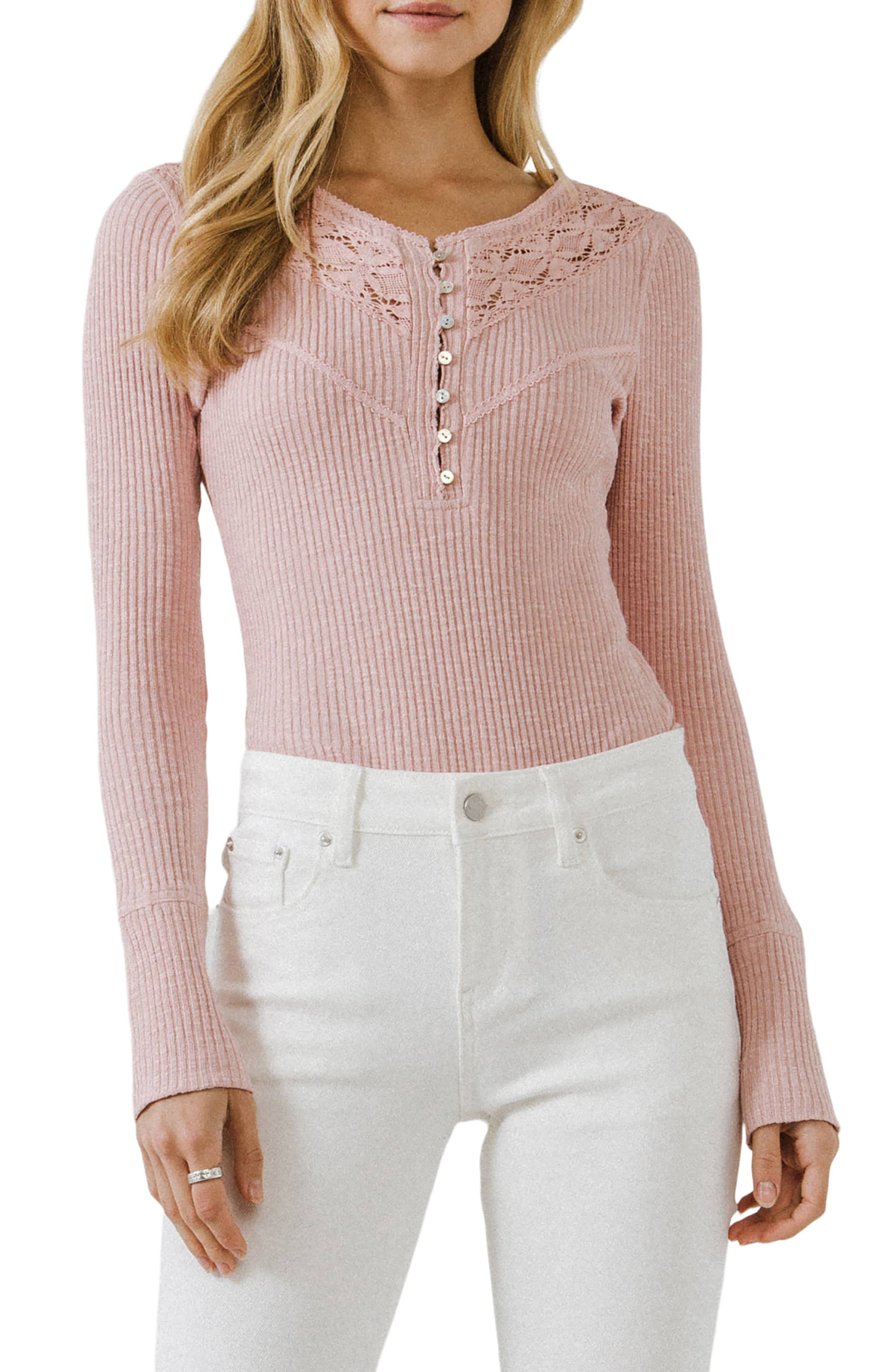 Lace Henley Long Sleeve Top