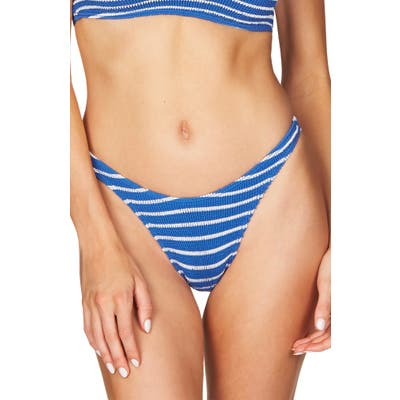 Bound By Bond-Eye The Scene High-Cut Ribbed Bikini Bottoms, Size One Size - Blue