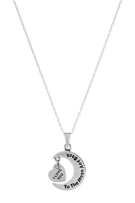 Image of Best Silver Inc. Sterling Silver I Love You To The Moon And Back Pendant Necklace