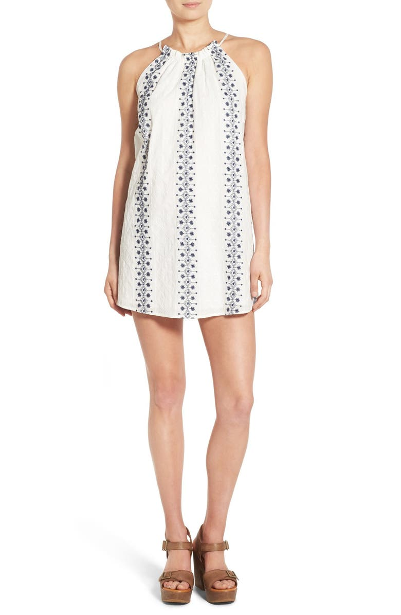 SOPRANO Embroidered High Neck Shift Dress, Main, color, 900