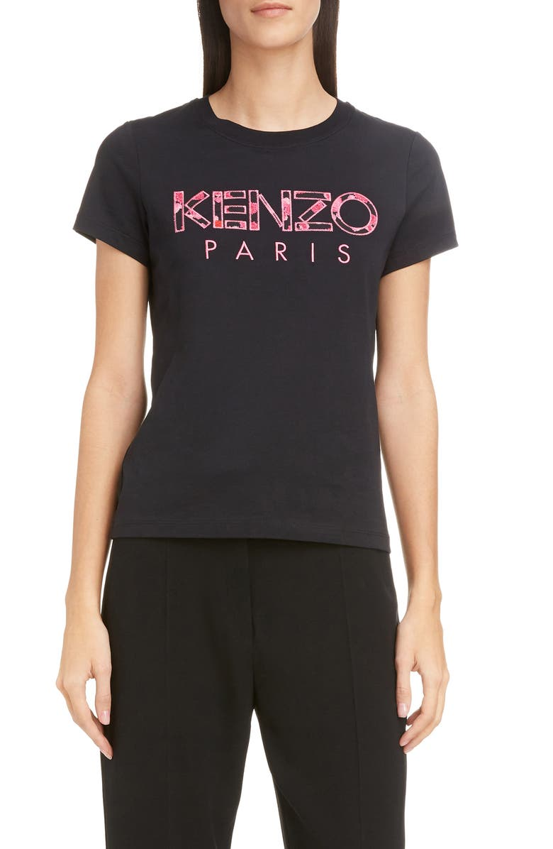 KENZO Embroidered Floral Logo Tee, Main, color, BLACK