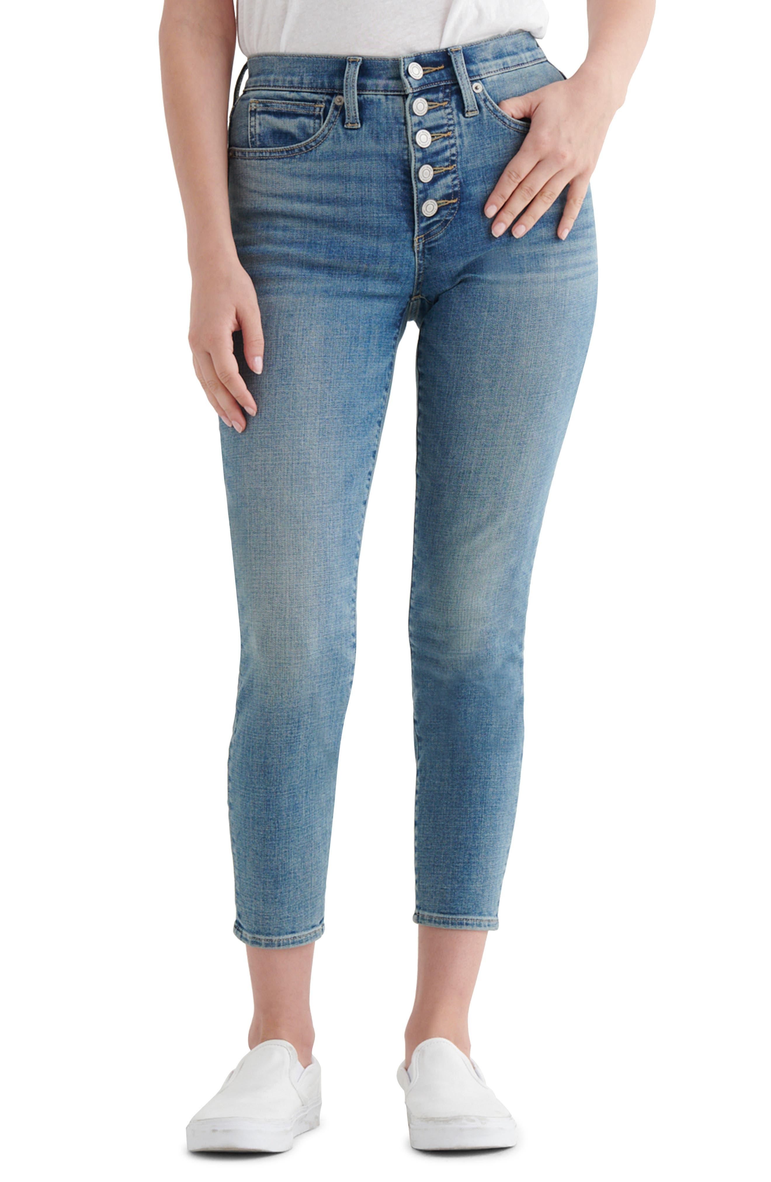 Bridgette Button Fly Crop Skinny Jeans