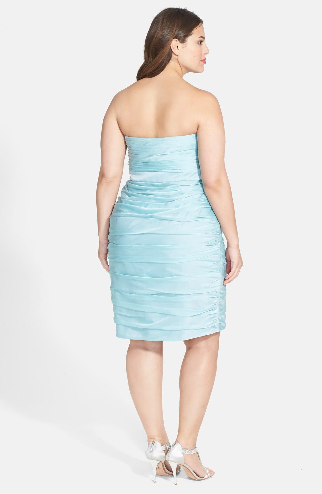 ,                             Ruched Strapless Cationic Chiffon Dress,                             Alternate thumbnail 38, color,                             306