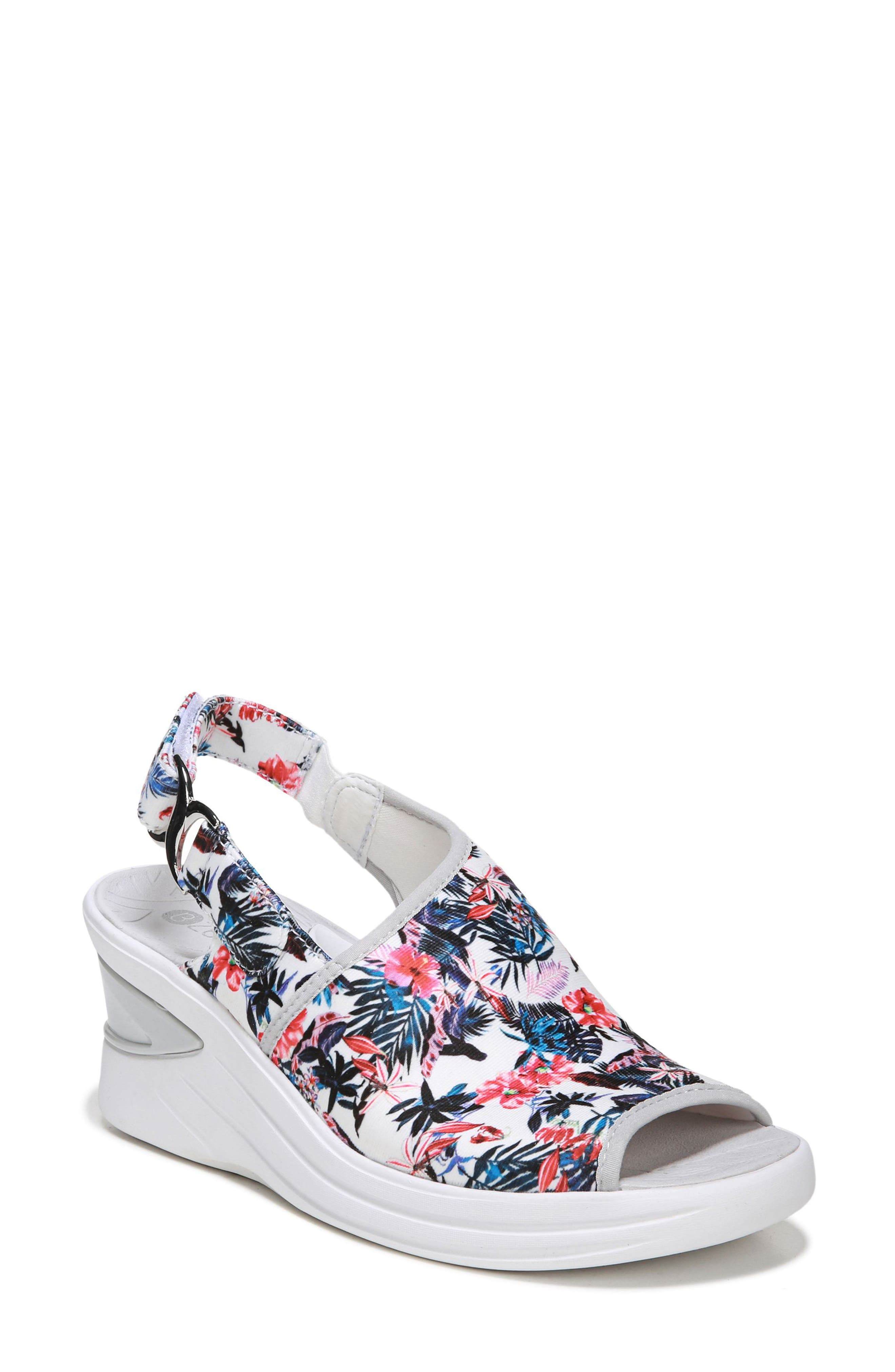 Bzees Vivia Slingback Wedge Sandal, White