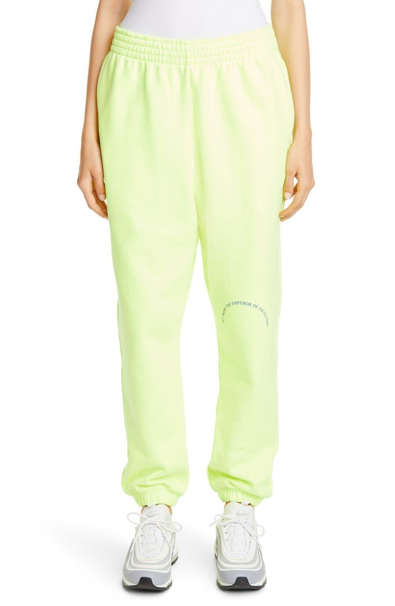 MARTINE ROSE Slim Leg Track Pants, Main, color, FLUORO