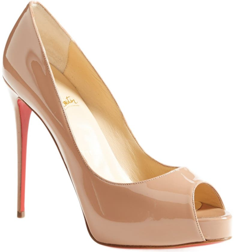 CHRISTIAN LOUBOUTIN Privé Open Toe Pump, Main, color, NUDE