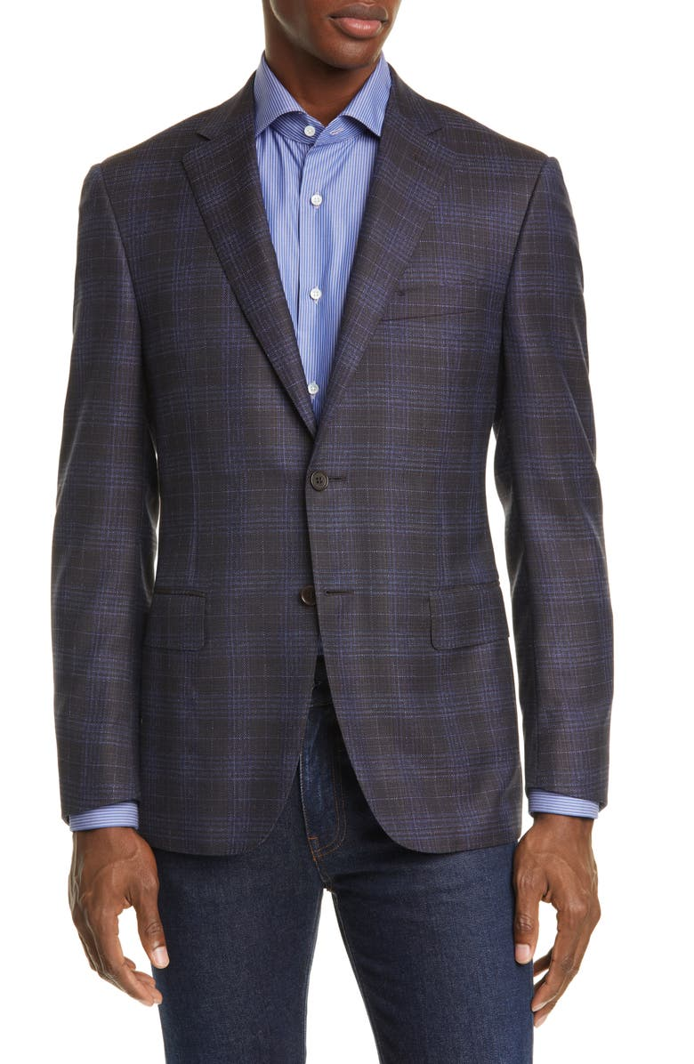 CANALI Sienna Soft Classic Fit Plaid Wool Sport Coat, Main, color, BROWN