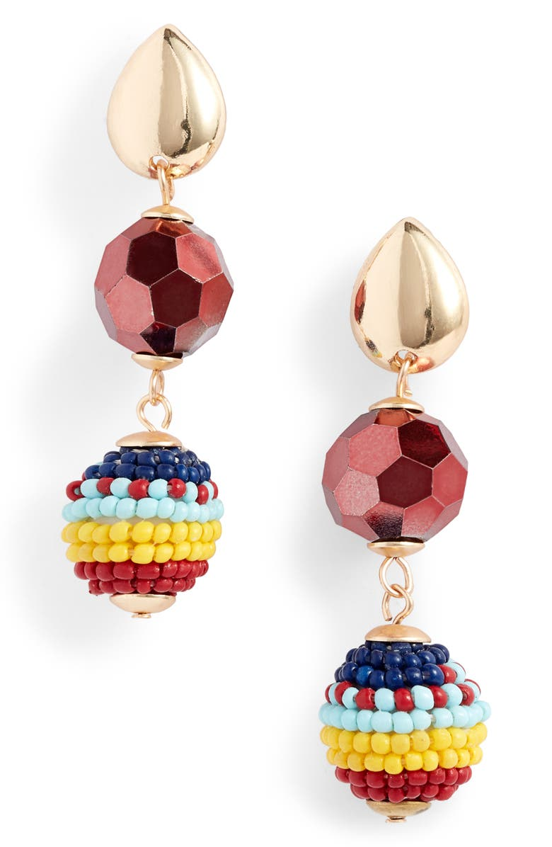 KNOTTY Beaded Drop Earrings, Main, color, GOLD/ RED