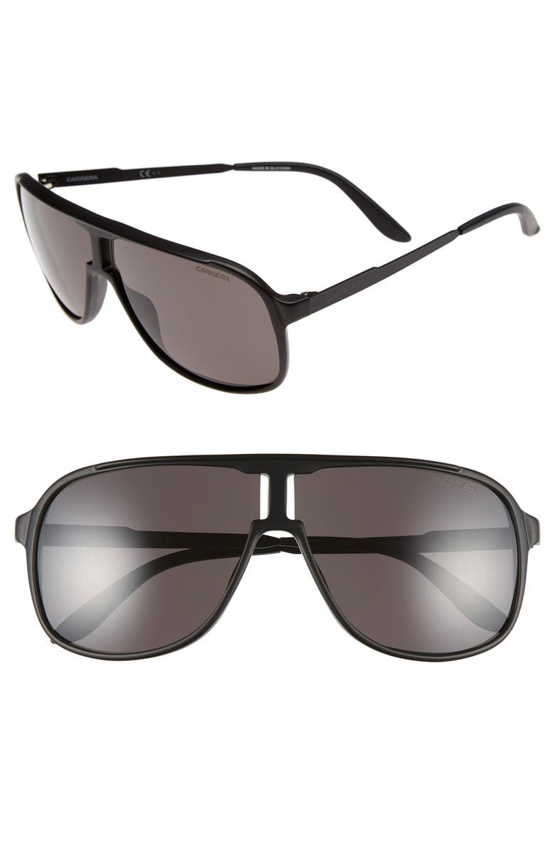 CARRERA EYEWEAR Safari 62mm Aviator Sunglasses, Main, color, MATTE BLACK/ SHINY BLACK