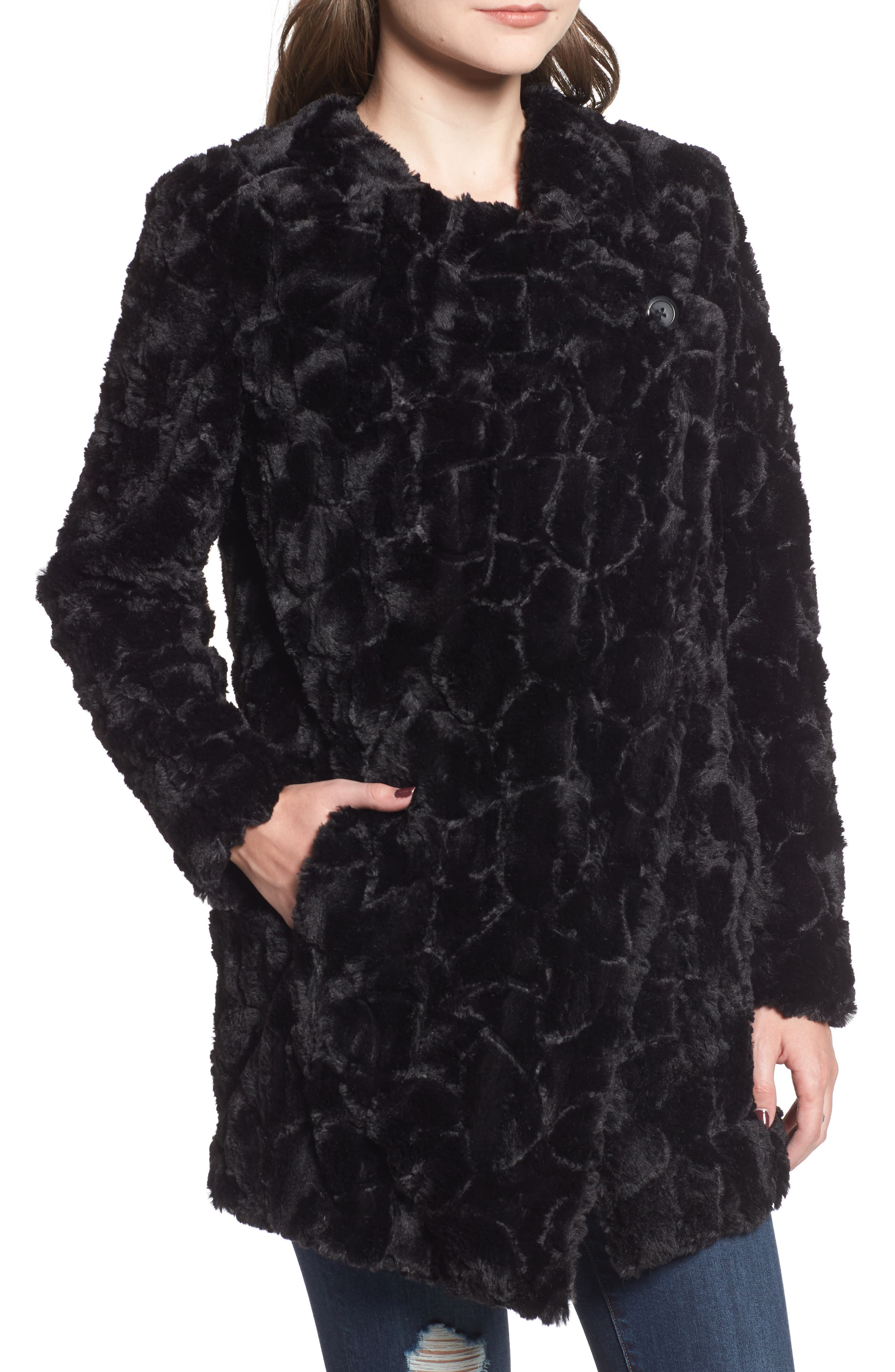 ,                             Tucker Wubby Faux Fur Coat,                             Alternate thumbnail 5, color,                             001