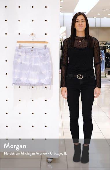 Tie Dye Distressed Raw Hem Denim Miniskirt, sales video thumbnail
