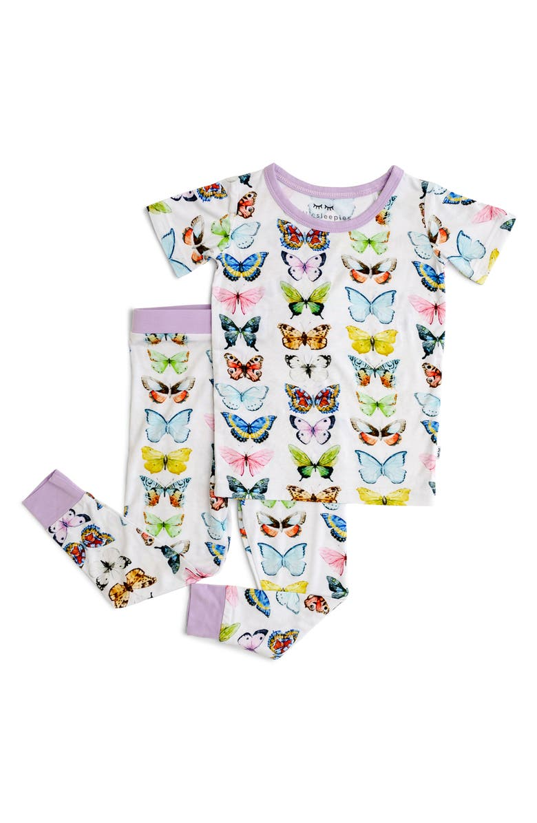 LITTLE SLEEPIES Butterflies Fitted Viscose Two-Piece Pajamas, Main, color, 020