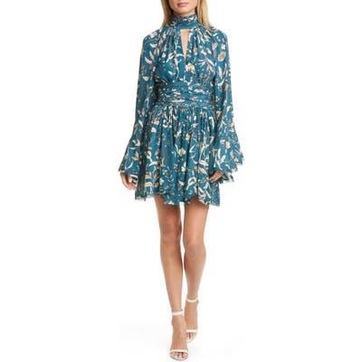 Amur Tilda Floral Print Long Sleeve Silk Minidress, Blue/green
