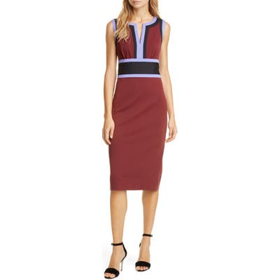 Dvf Maribel Colorblock Sleeveless Sheath Dress, Burgundy
