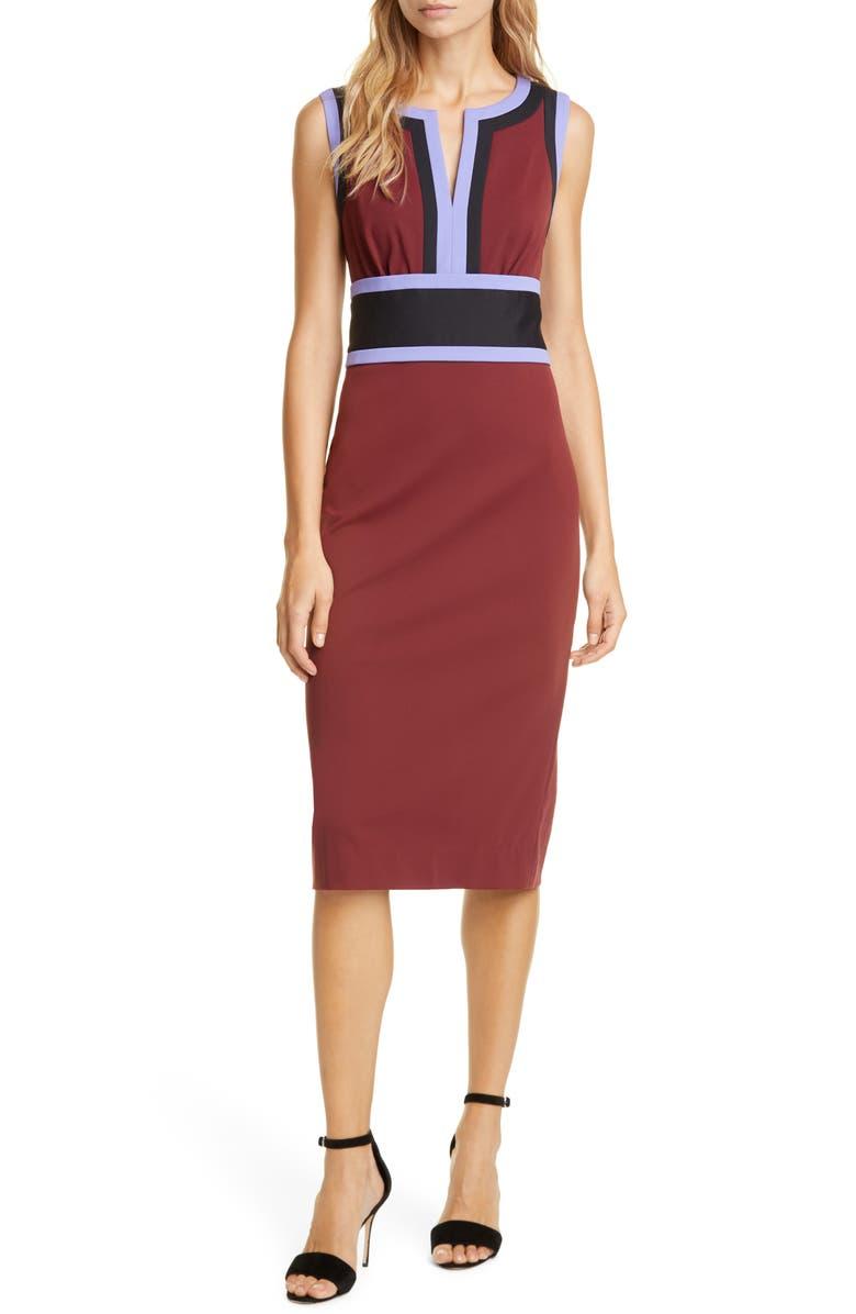 DVF Maribel Colorblock Sleeveless Sheath Dress, Main, color, MERLOT/ BLACK/ JACARANDA