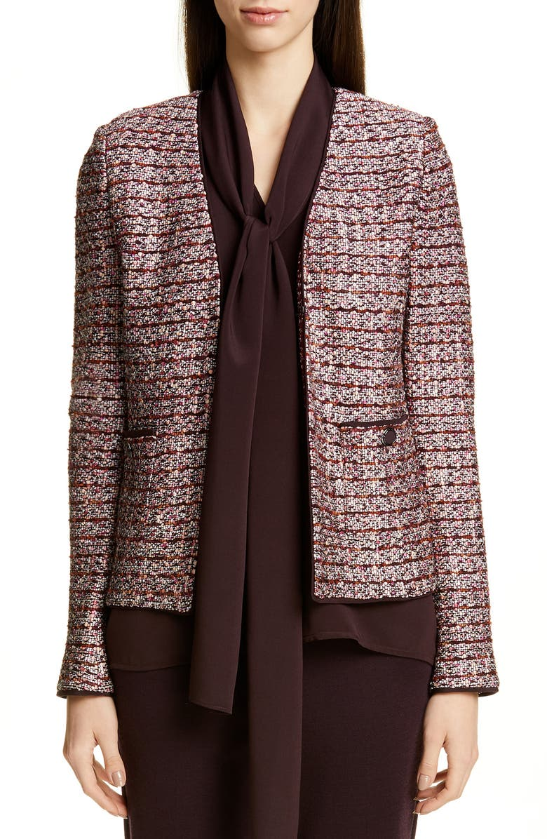 ST. JOHN COLLECTION Multi Texture Inlay Knit Jacket, Main, color, CASSIS/ CAVIAR/ PEACH MULTI