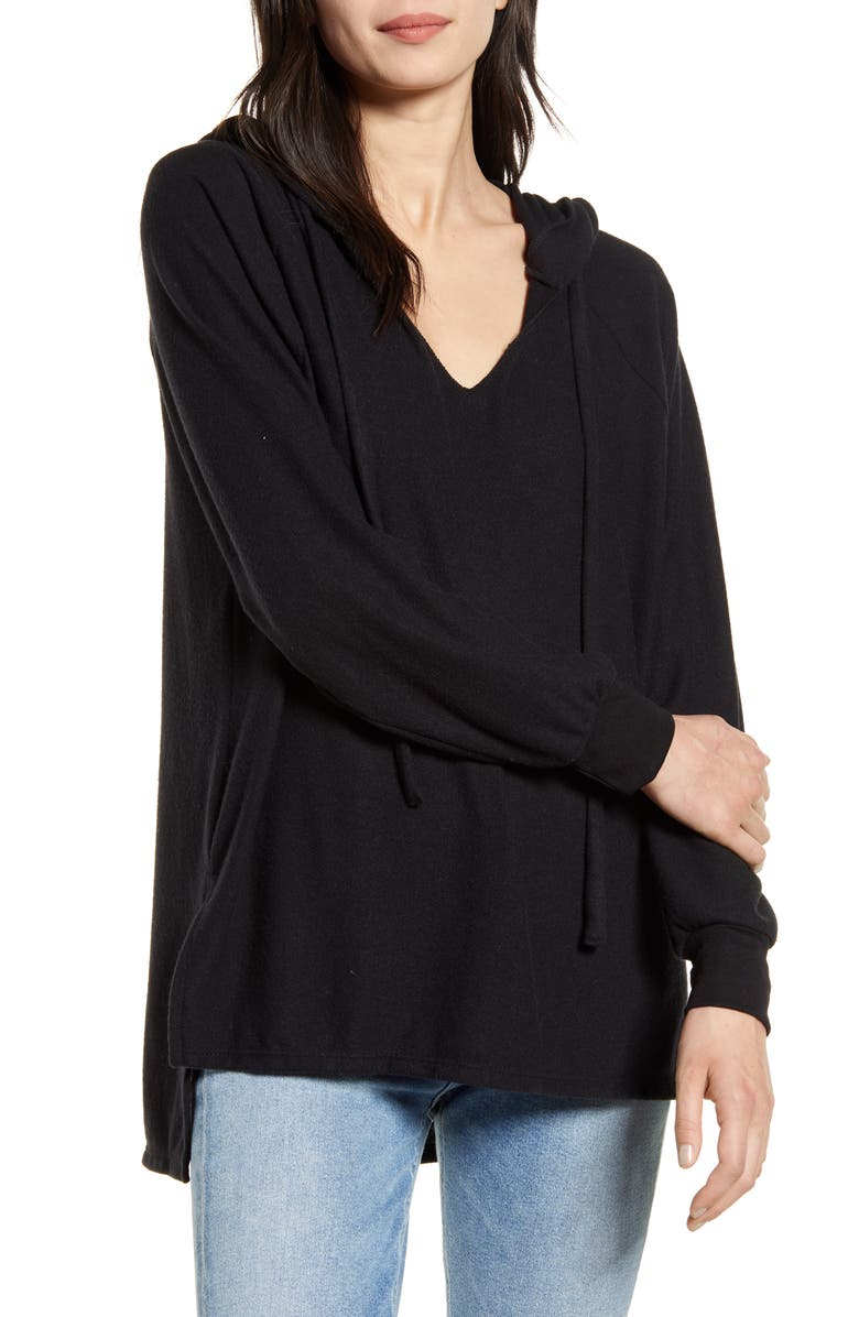 TREASURE & BOND Cozy V-Neck Hooded Tunic Top, Main, color, BLACK