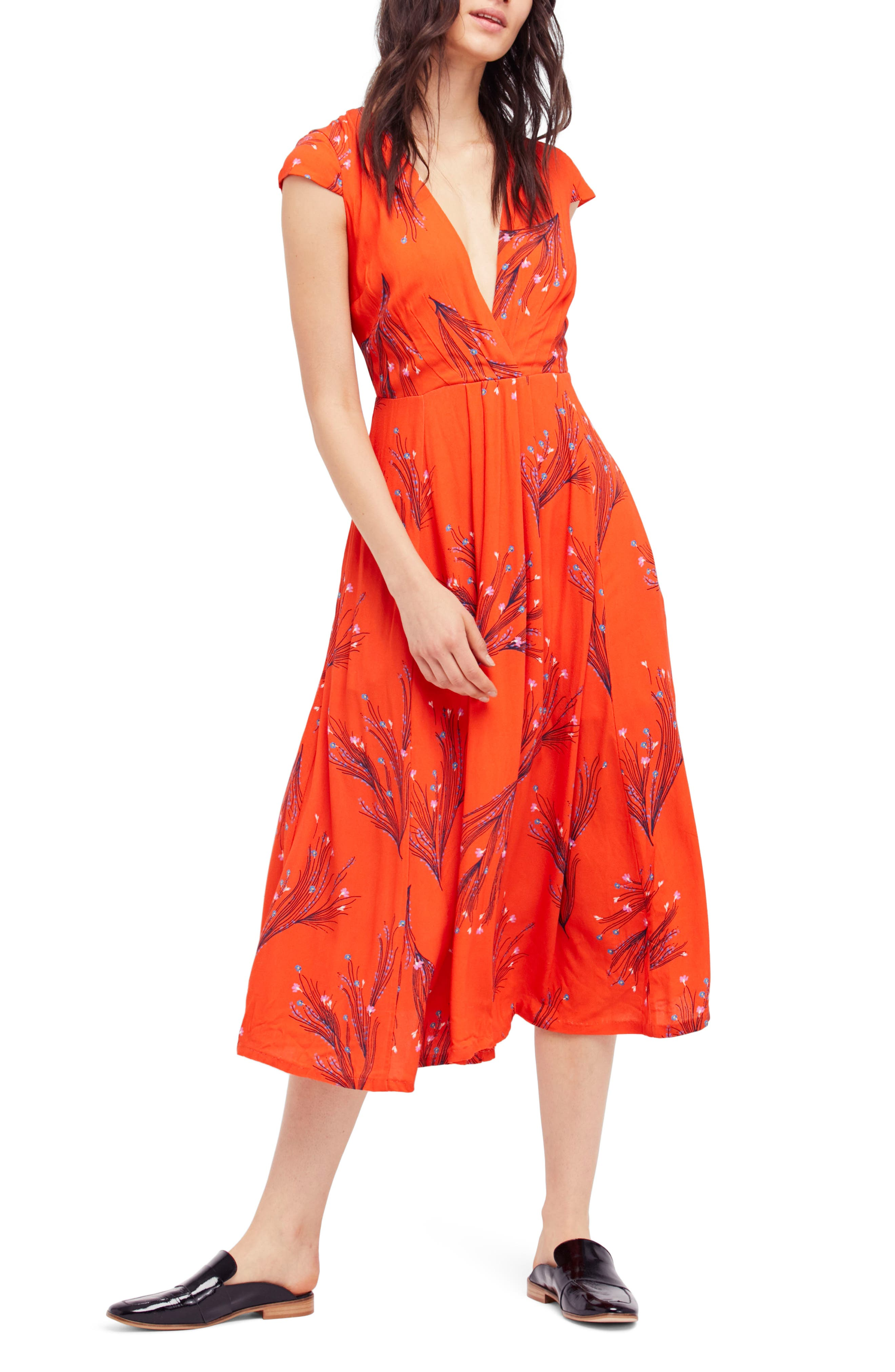 ,                             Print Retro Midi Dress,                             Alternate thumbnail 12, color,                             600