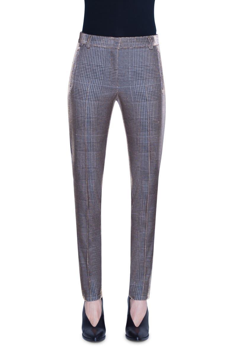 AKRIS PUNTO Fabia Metallic Glen Check Pants, Main, color, CAMEL/ SILVER