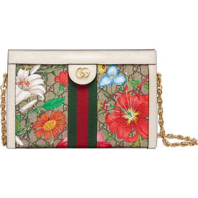 Gucci Small Ophidia Floral Gg Supreme Canvas Shoulder Bag - Beige