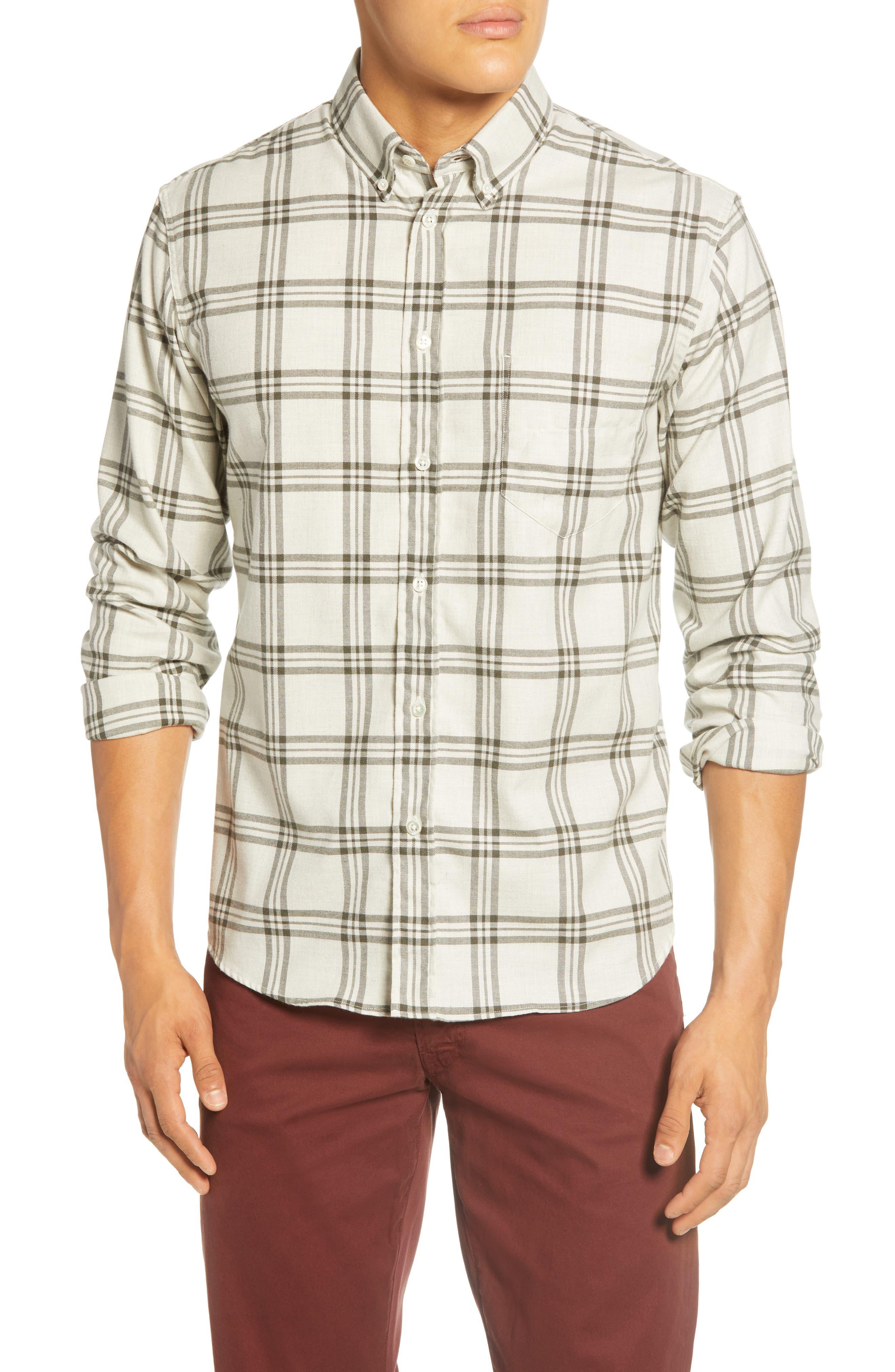 Image of Billy Reid Plaid Regular Fit Cotton Shirt