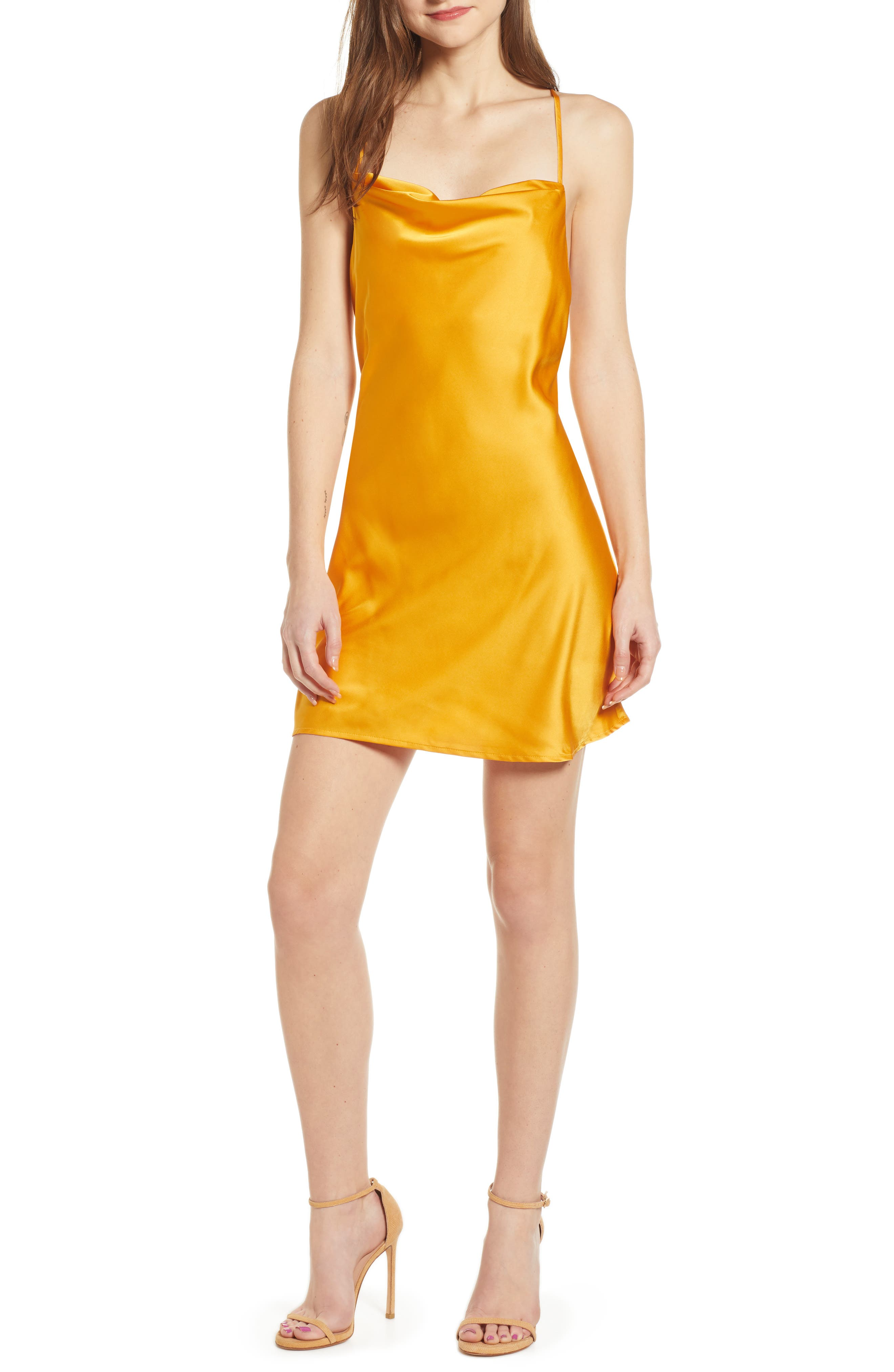 J.o.a. Cowl Minidress, Orange