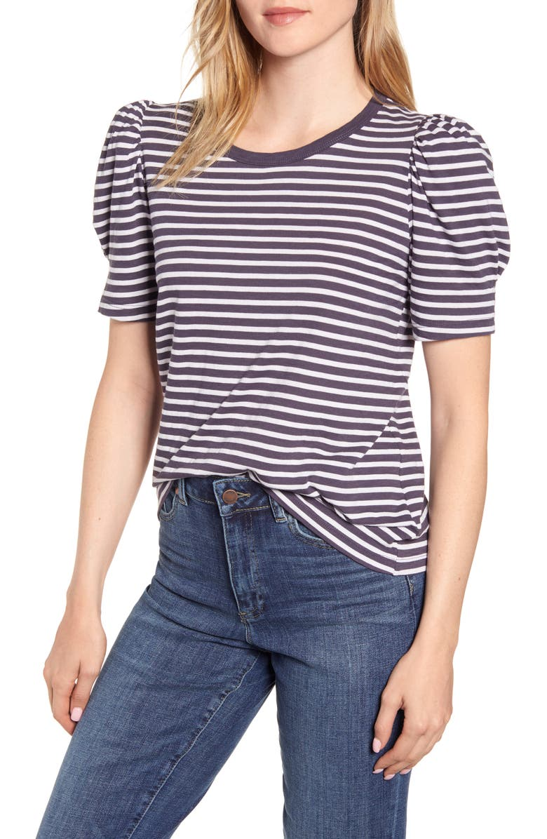 VELVET BY GRAHAM & SPENCER Stripe Puff Sleeve Tee, Main, color, NAVY