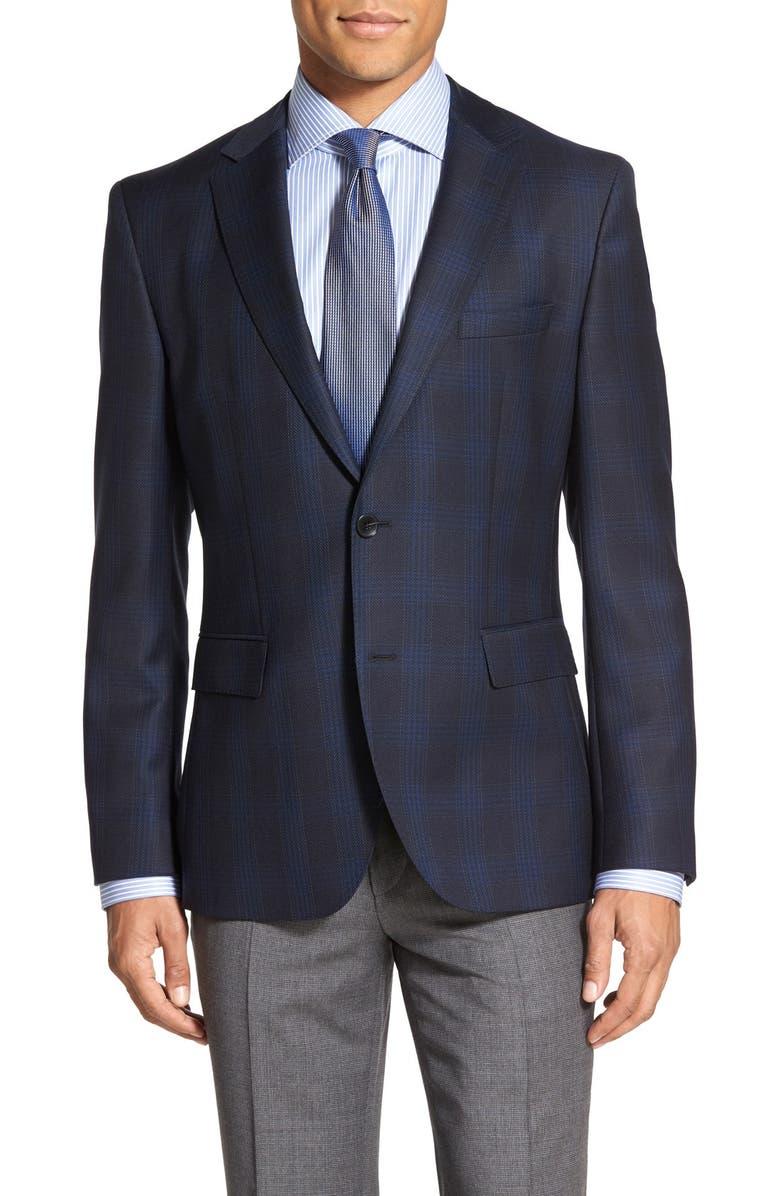 ZZDNUHUGO BOSS BOSS 'Jeen' Trim Fit Plaid Wool Sport Coat, Main, color, 410