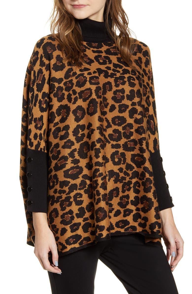 ANNE KLEIN Lurex Dolman Sleeve Animal Print Turtleneck Sweater, Main, color, VICUNA/ ANNE BLACK COMBO