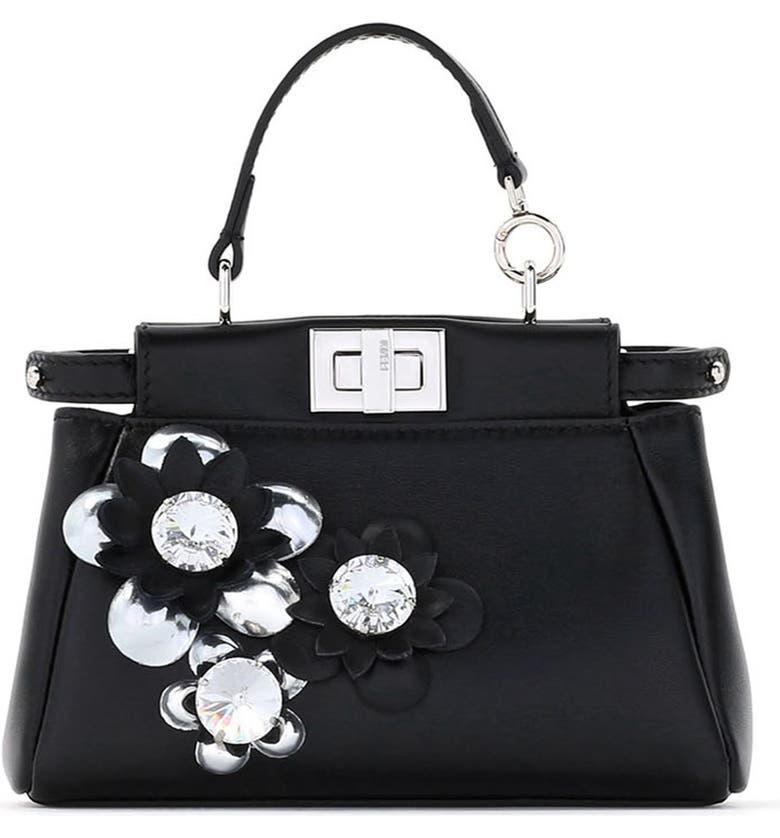 a258b584812 Fendi 'Micro Peekaboo - Flowers' Leather Satchel (Extra Small ...