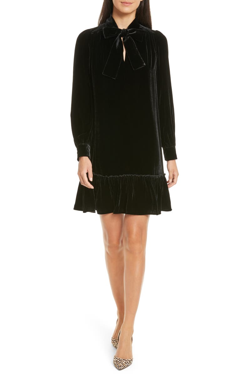 KATE SPADE NEW YORK tie front velvet shift dress, Main, color, 001