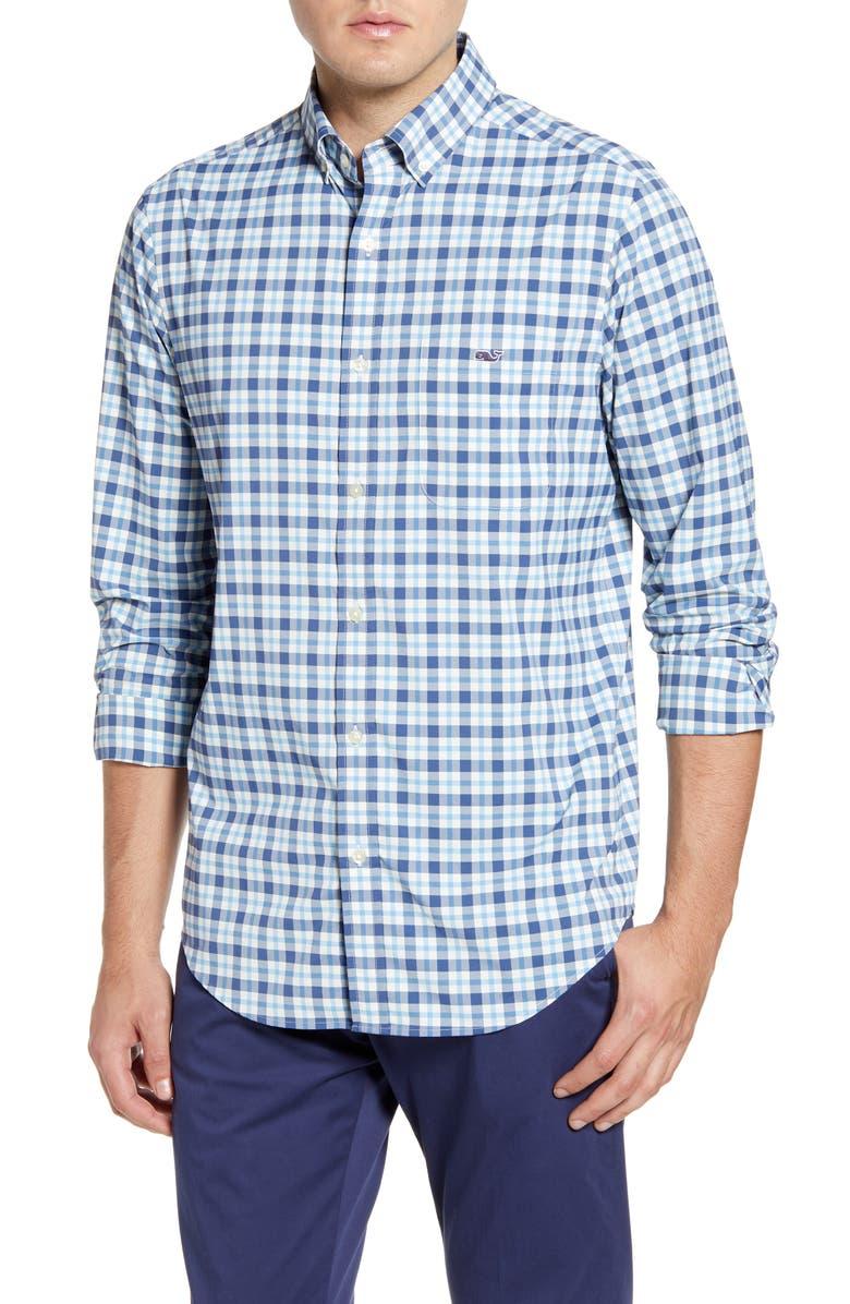 VINEYARD VINES Tucker Classic Fit Plaid Button-Down Performance Shirt, Main, color, MOONSHINE