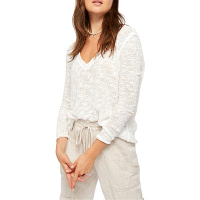 Free People Ocean Air Hacci Pullover, White