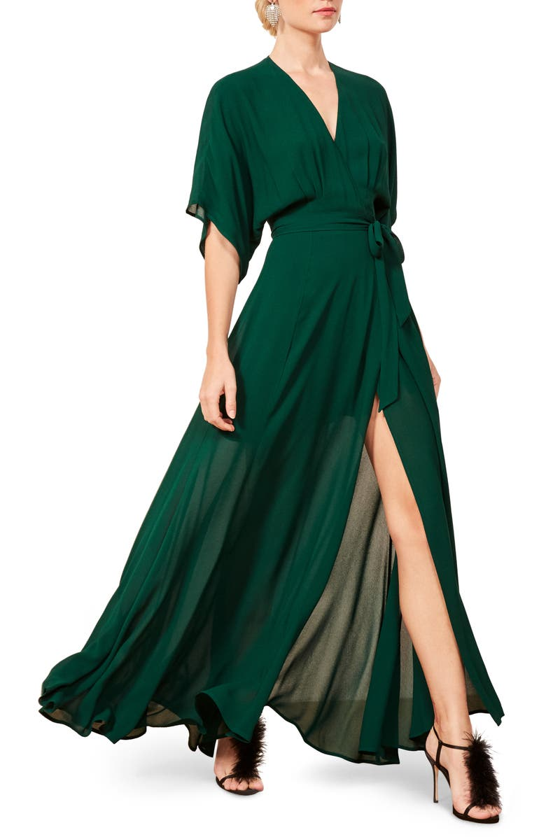 REFORMATION Winslow Maxi Dress, Main, color, EMERALD