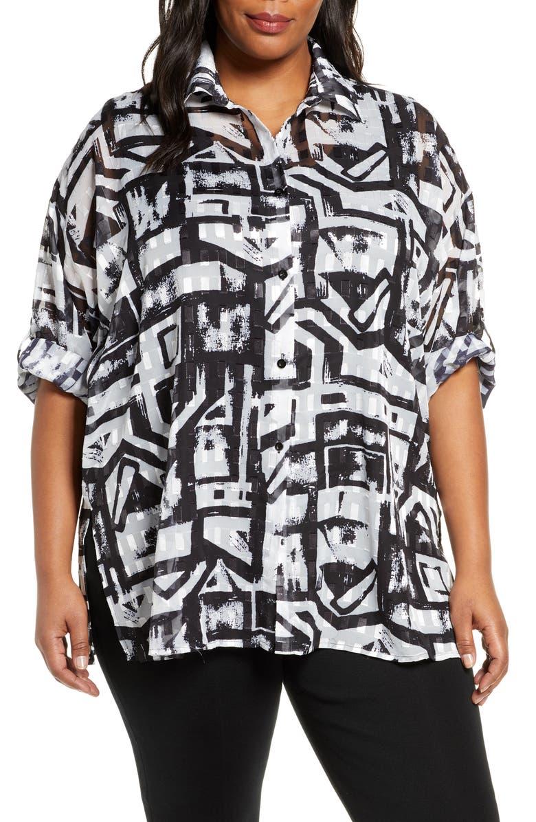MING WANG Tunic Shirt, Main, color, BLACK/ WHITE