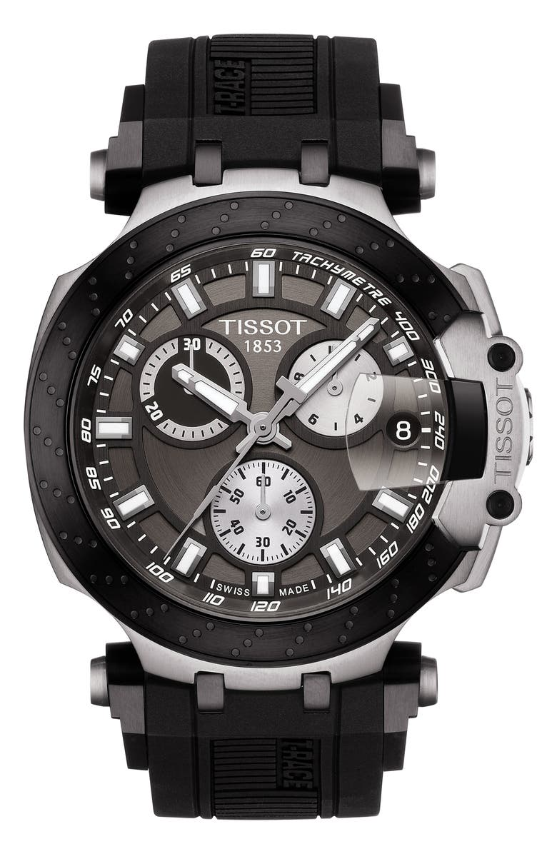 TISSOT T-Race Chronograph Silicone Strap Watch, 48mm, Main, color, BLACK/ ANTHRACITE/ SILVER