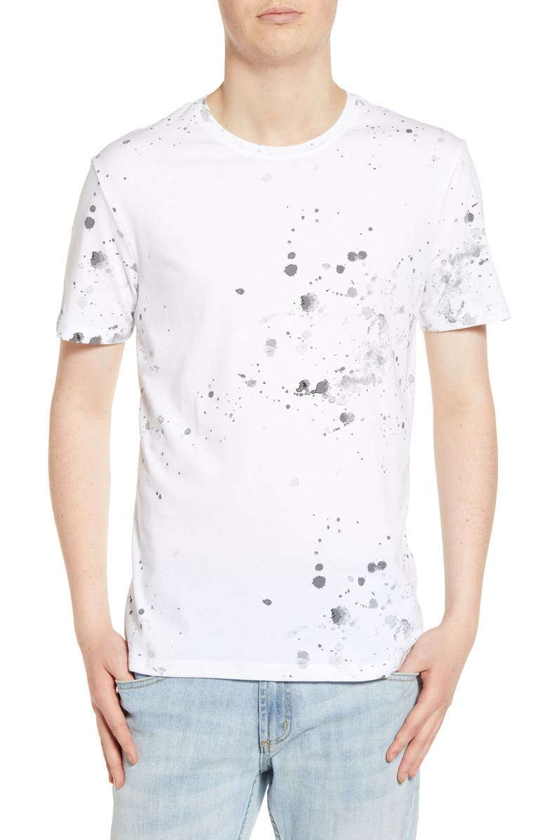 THE RAIL Print T-Shirt, Main, color, WHITE-BLACK SPLATTER PAINT