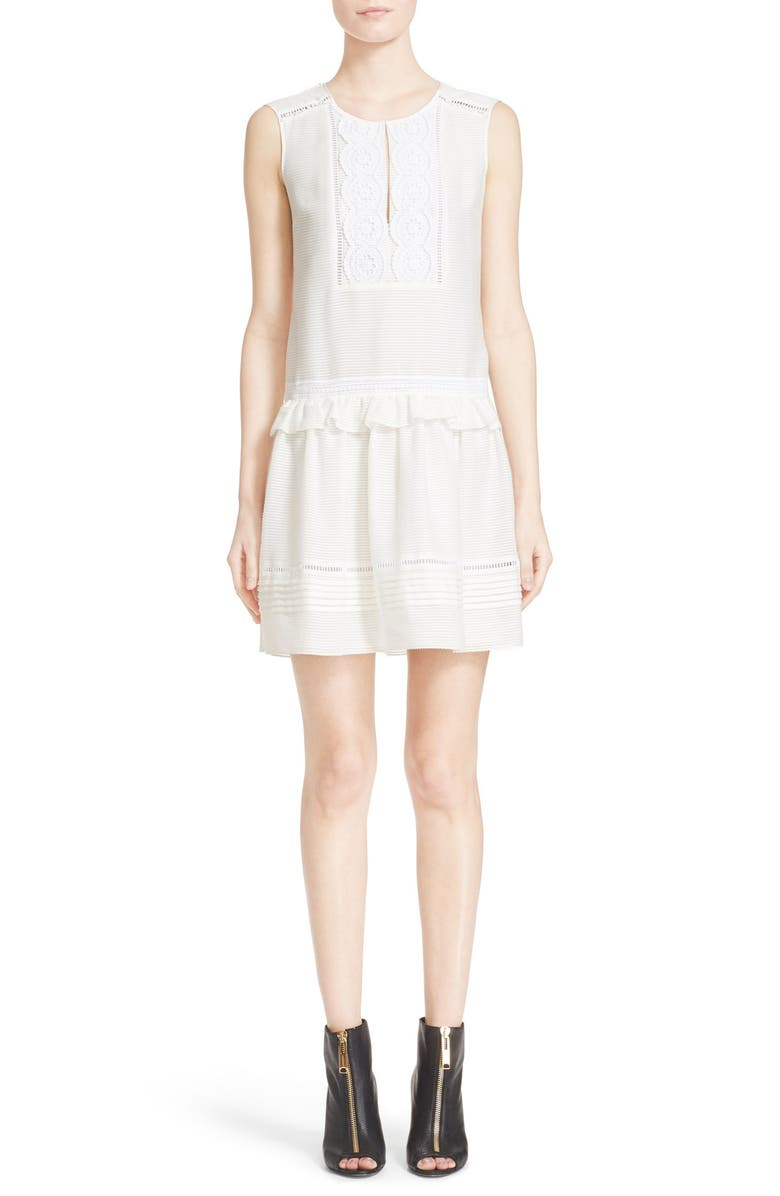BURBERRY Nanette Sleeveless Drop Waist Dress, Main, color, 100