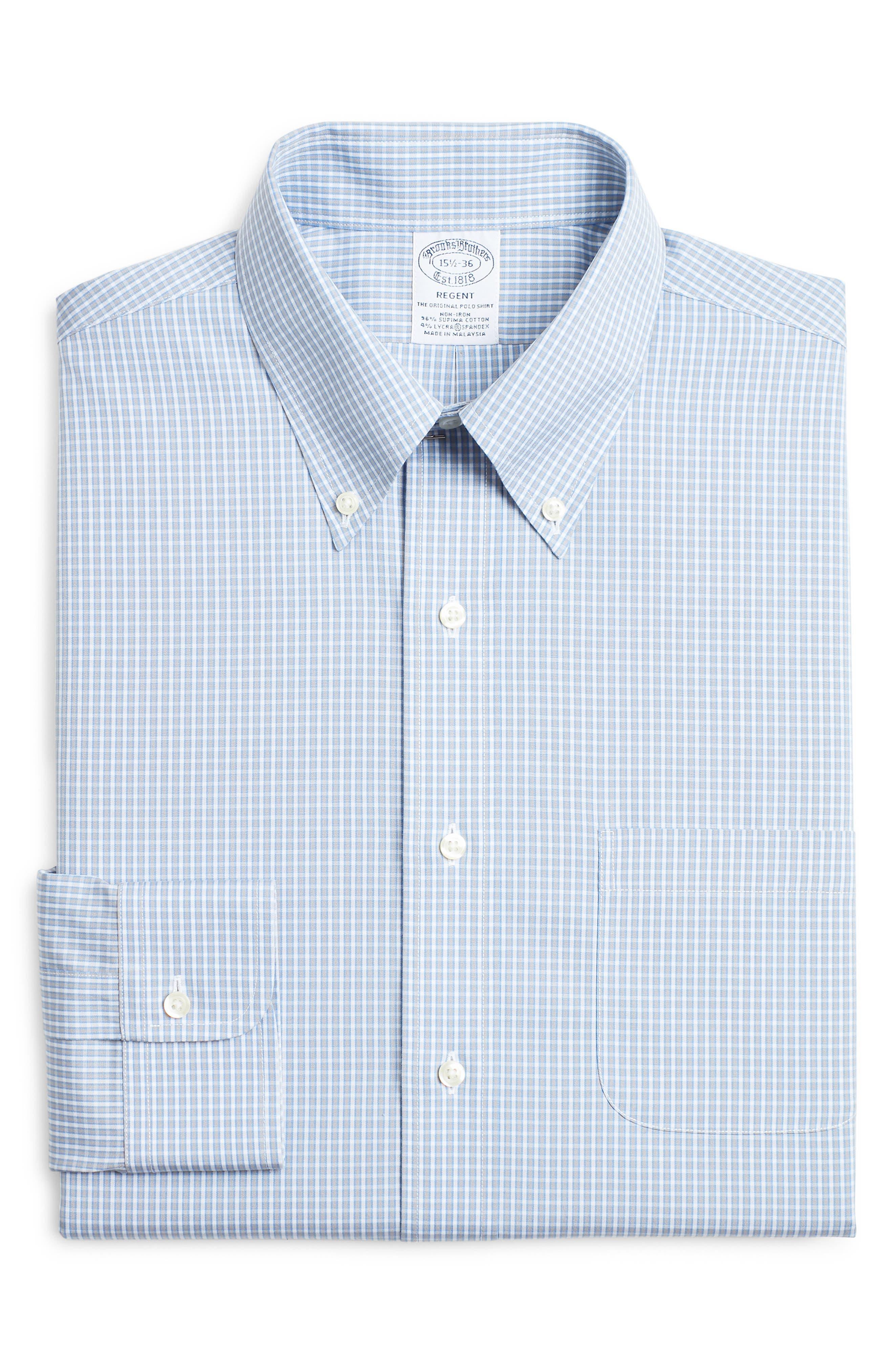 Brooks Brothers Regent Regular Fit Stretch Check Dress Shirt