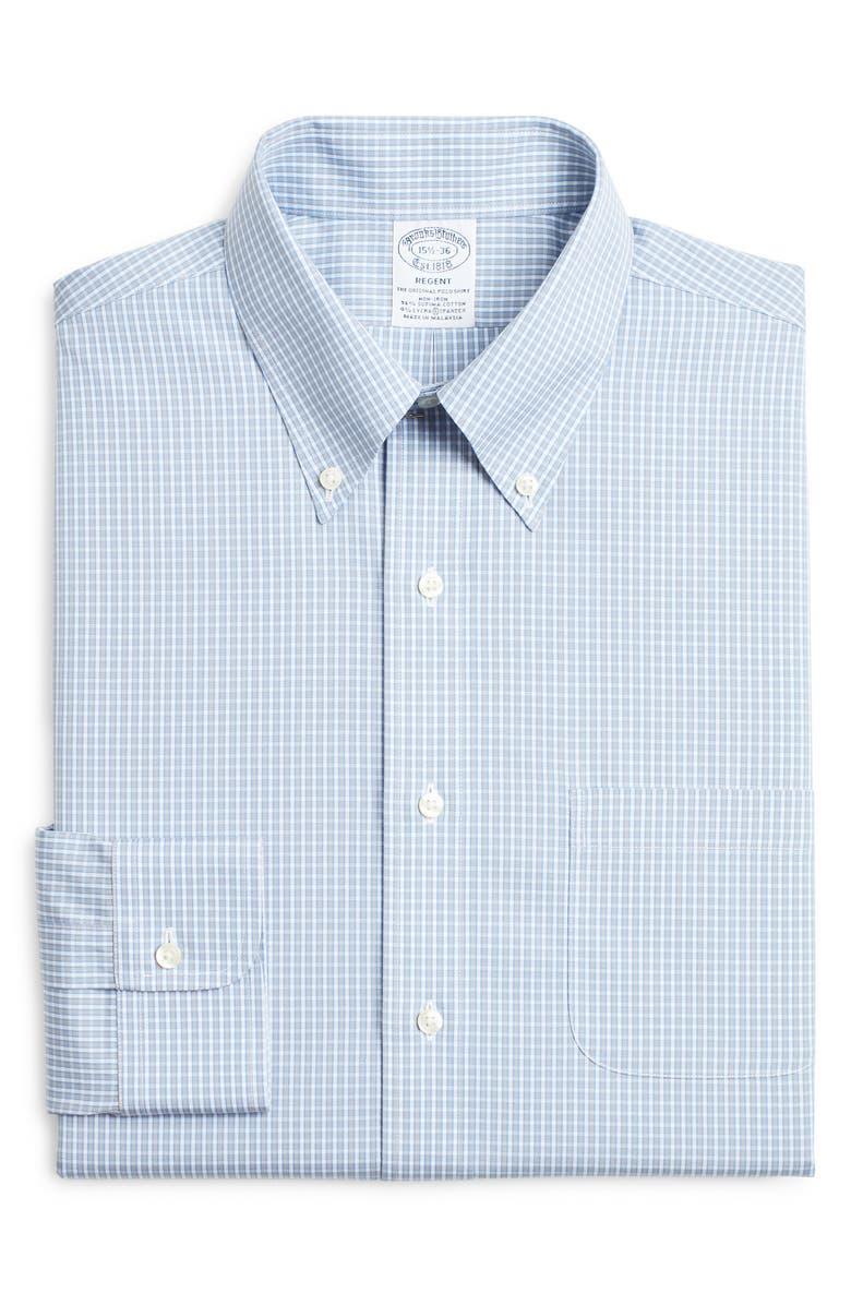 BROOKS BROTHERS Regent Regular Fit Stretch Check Dress Shirt, Main, color, BLUE