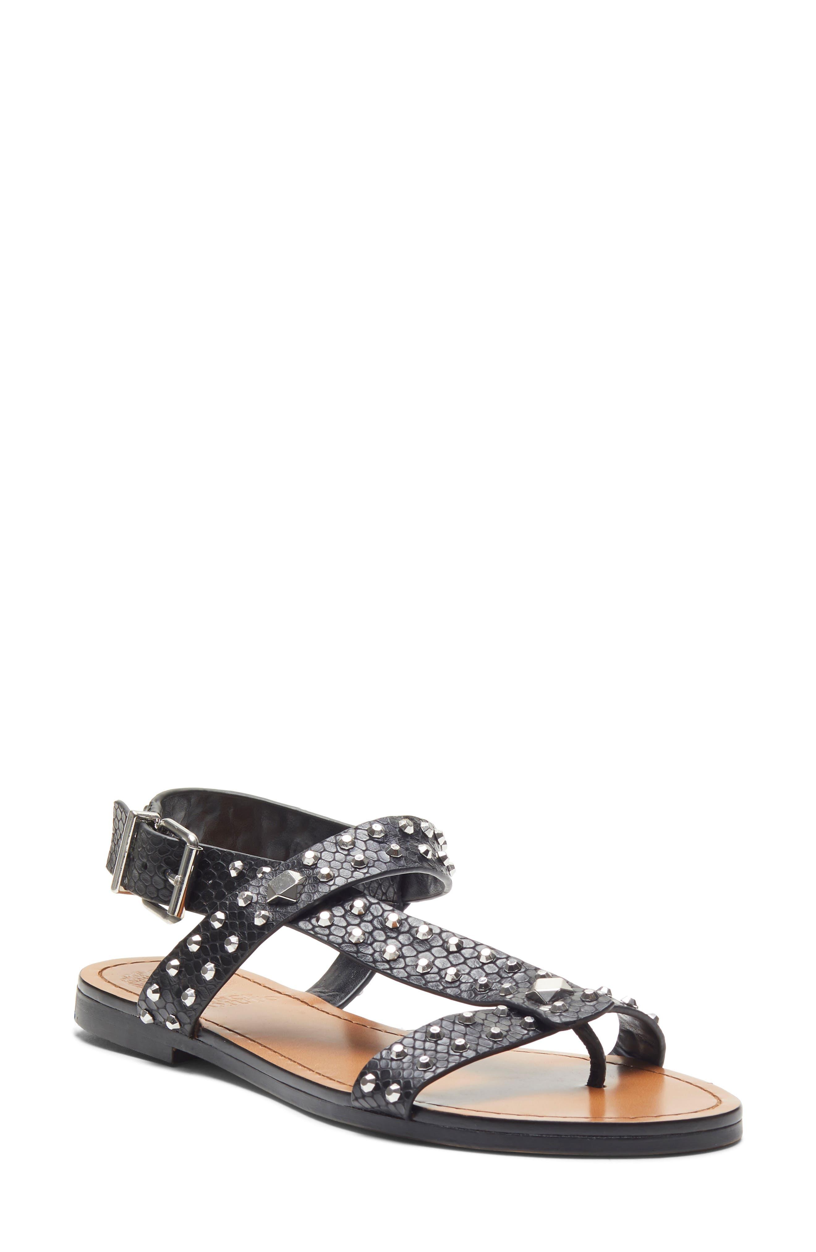 Ravensa Studded Sandal, Main, color, BLACK LEATHER