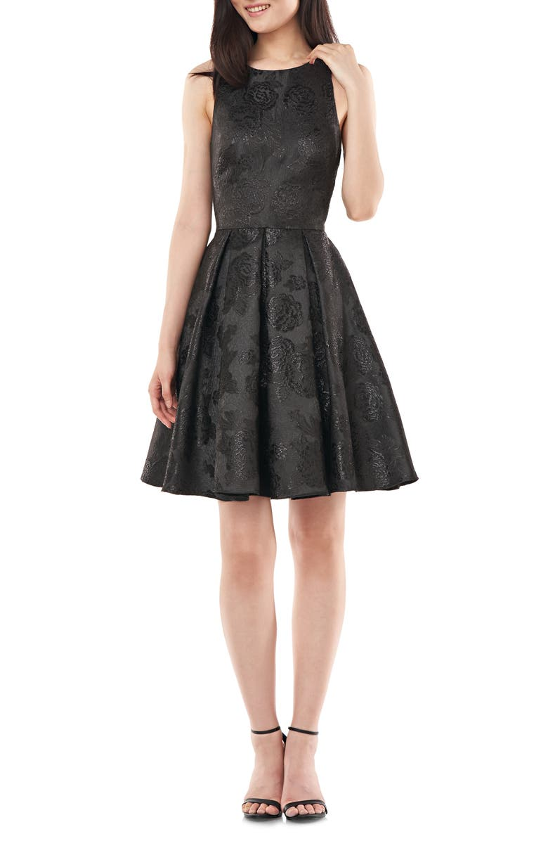 LOVE BY THEIA Bow Back Jacquard Party Dress, Main, color, BLACK
