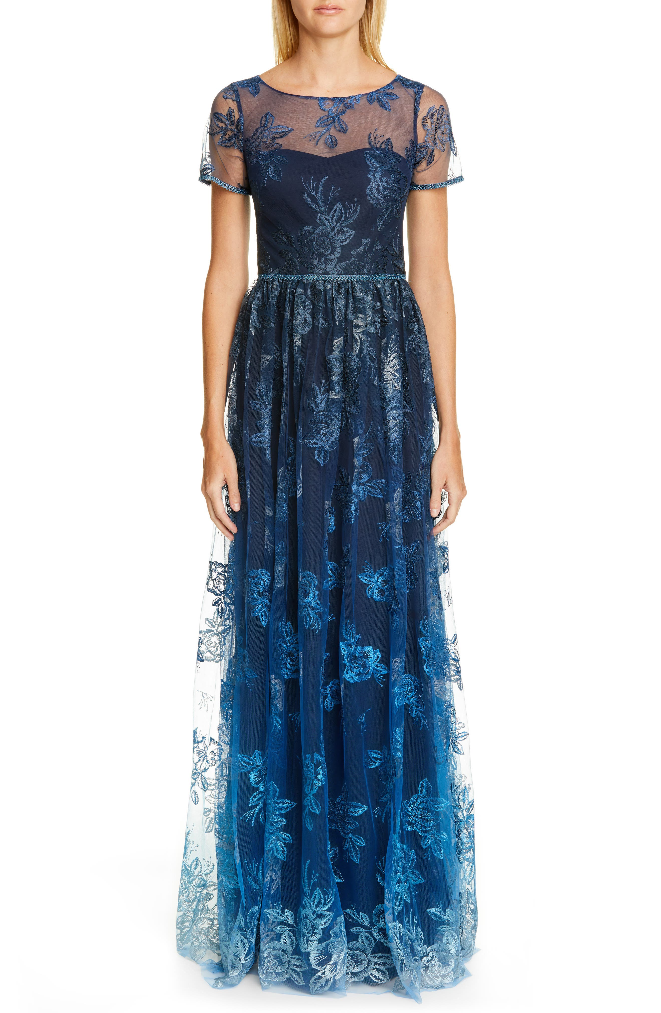 women's marchesa notte ombre embroidered gown, size 4 - blue