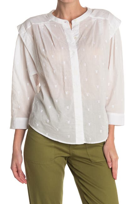 Image of Joie Broden Embroidered Poplin Blouse