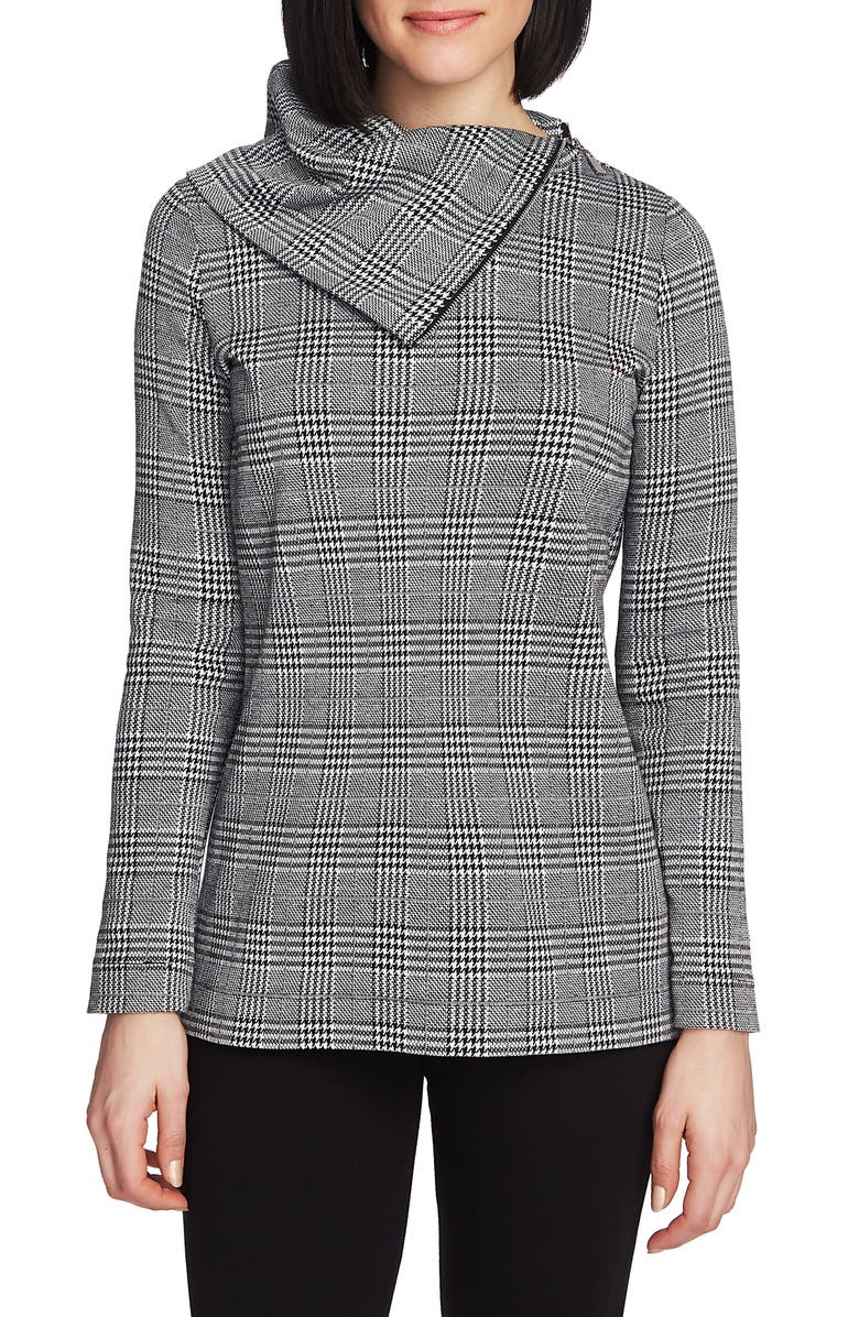 CHAUS Plaid Zip Cowl Neck Long Sleeve Top, Main, color, 001