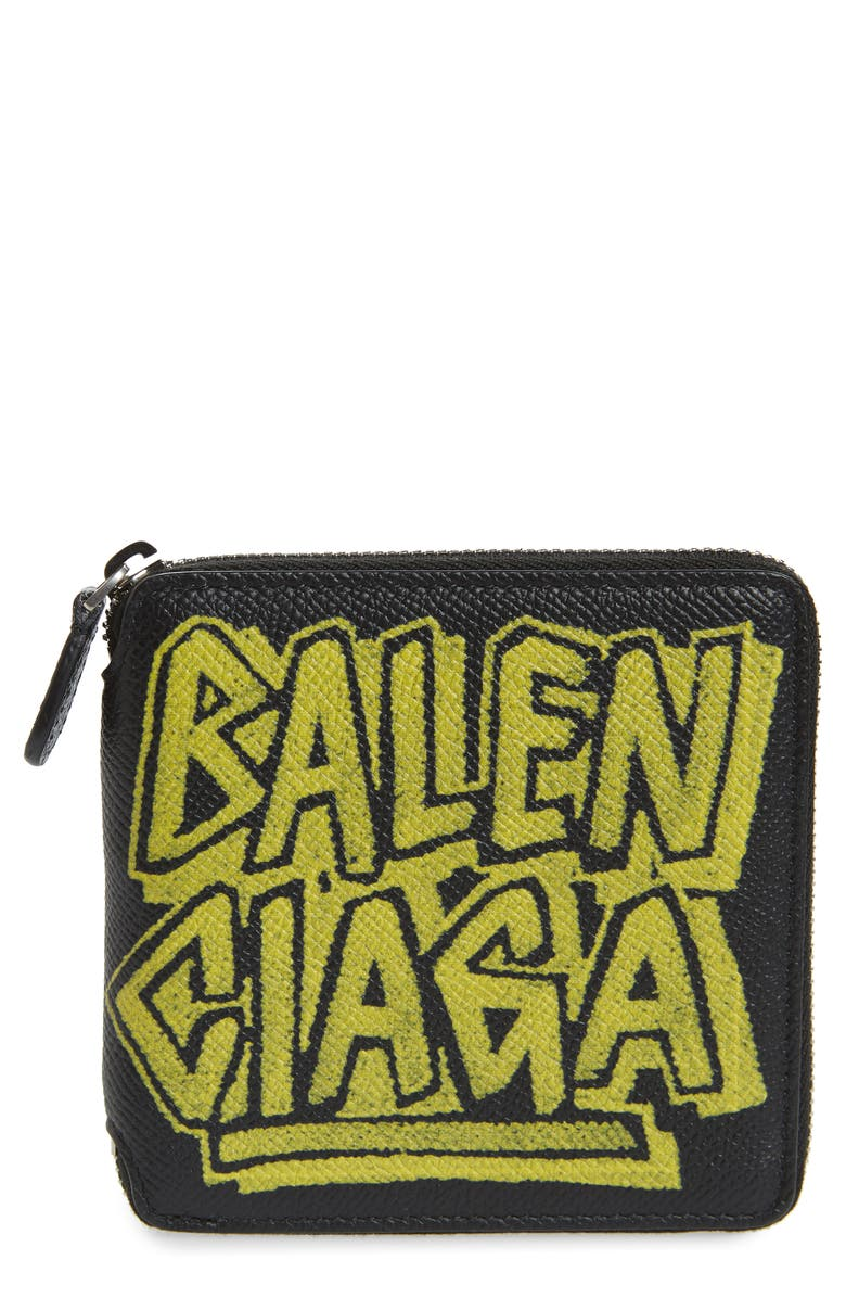 BALENCIAGA Ville Square Zip Leather Wallet, Main, color, BLACK FLUO YELLOW