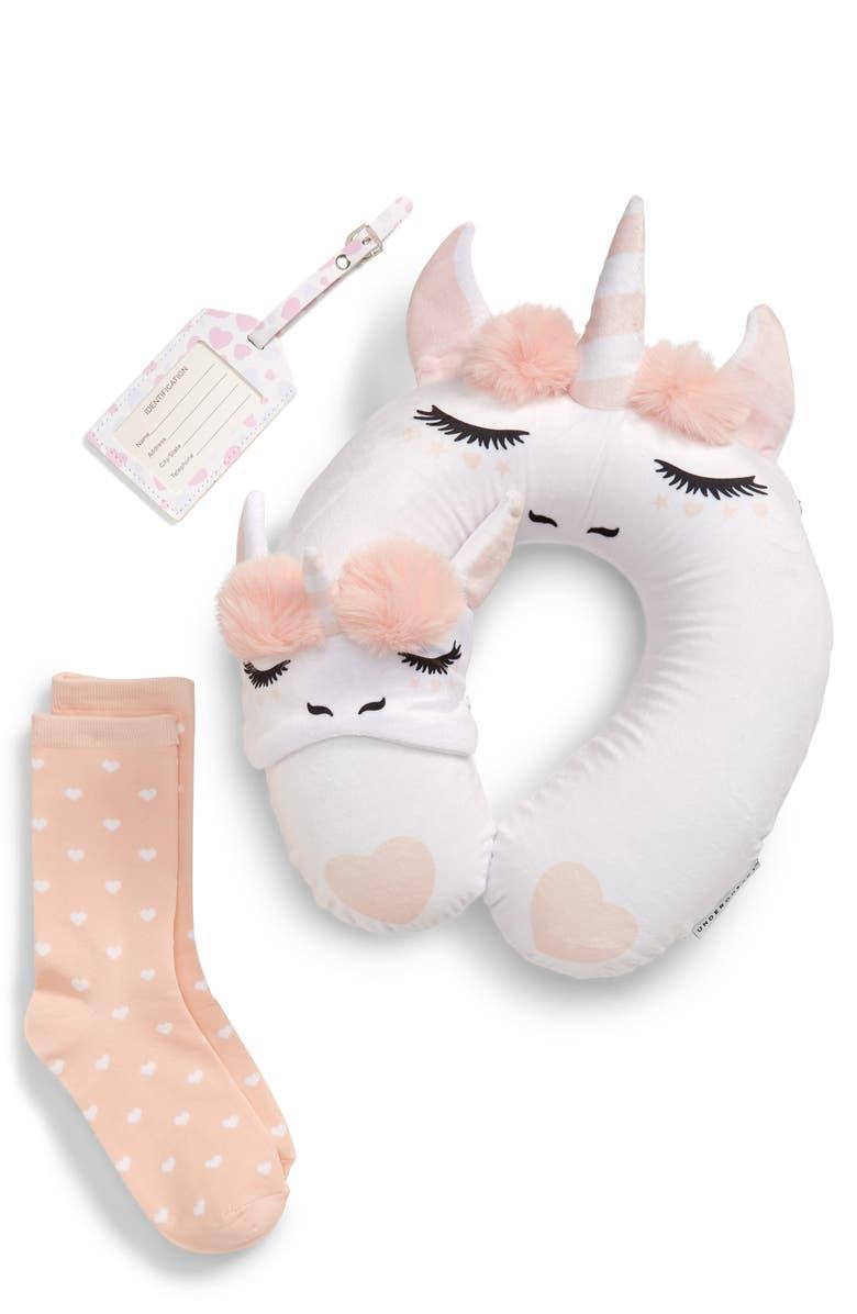 UNDER ONE SKY Unicorn Travel Pillow, Sleep Mask, Socks & Luggage Tag Set, Main, color, WHITE