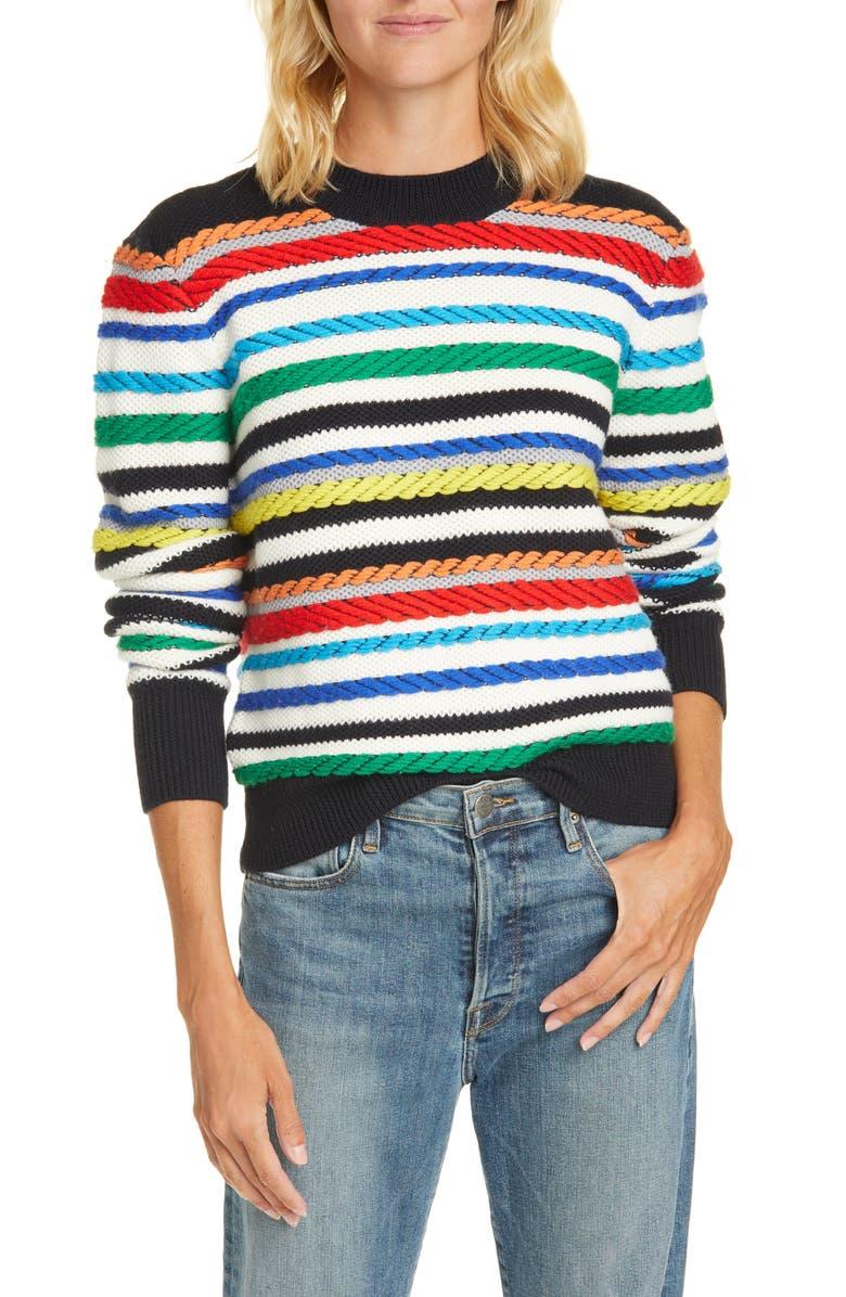 LA LIGNE Fair Isle Mix Stitch Merino Wool Sweater, Main, color, CREAM/ MULTI
