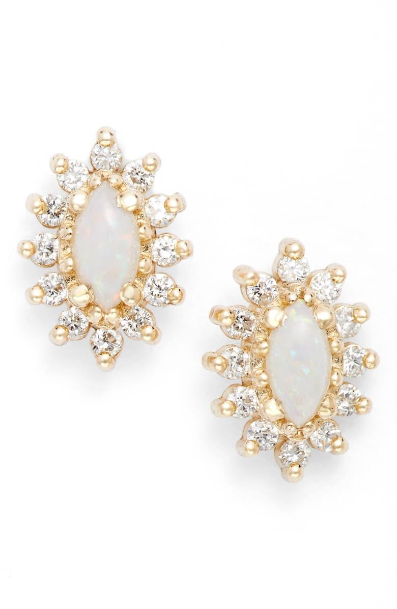 6866913222026 Diamond & Opal Cluster Stud Earrings